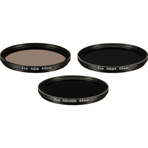 Ice 49mm ND8, ND64, and ND1000 Solid Neutral Density Filter Kit (3, 6, and 10 Stops)
