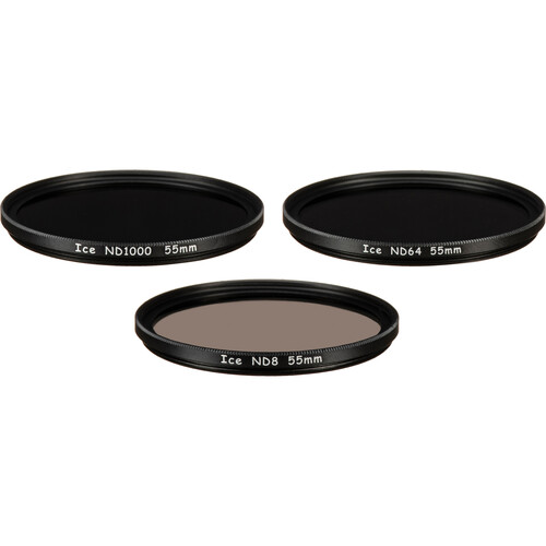 Ice 55mm ND8, ND64, and ND1000 Solid Neutral Density Filter Kit (3, 6, and 10 Stops)