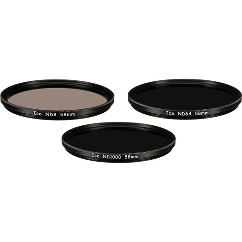 Ice 58mm ND8, ND64, and ND1000 Solid Neutral Density Filter Kit (3, 6, and 10 Stops)