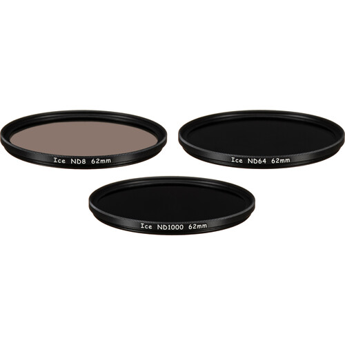 Ice 62mm ND8, ND64, and ND1000 Solid Neutral Density Filter Kit (3, 6, and 10 Stops)