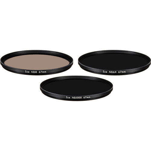 Ice 67mm ND8, ND64, and ND1000 Solid Neutral Density Filter Kit (3, 6, and 10 Stops)
