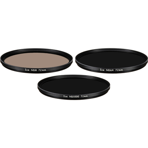 Ice 72mm ND8, ND64, and ND1000 Solid Neutral Density Filter Kit (3, 6, and 10 Stops)