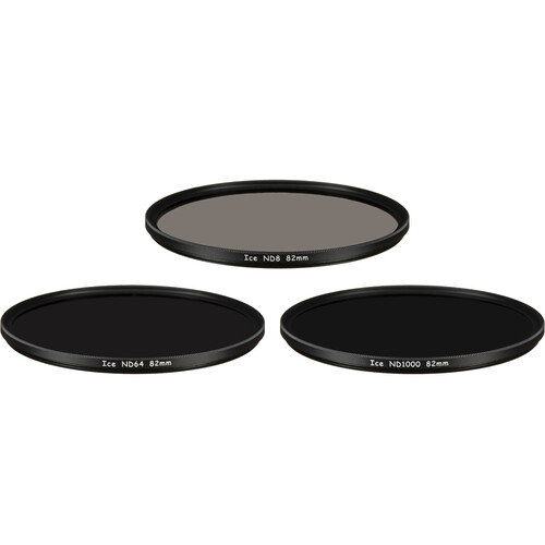 Ice 82mm ND8, ND64, and ND1000 Solid Neutral Density Filter Kit (3, 6, and 10 Stops)