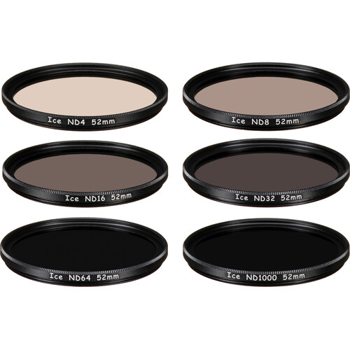 Ice 52mm ND4, ND8, ND16, ND32, ND64, and ND1000 Solid Neutral Density Filter Kit (2, 3, 4, 5, 6, and 10-Stop)