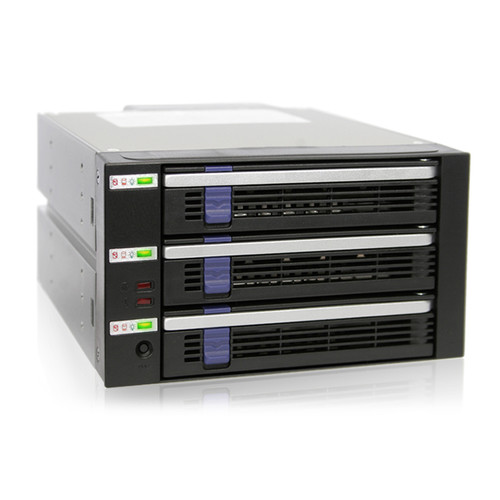 "Icy Dock DataCage Classic 3-Bay EZ-Tray Advance Monitoring Backplane Cage in 2 x 5.25"" Bay for 2.5""/3.5"" SATA HDD/SSD"