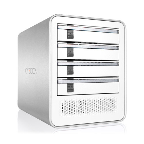 "Icy Dock 4-Bay 2.5""/3.5"" SATA HDD/SSD USB 3.0/eSATA Port Multiplier External JBOD Enclosure (White)"