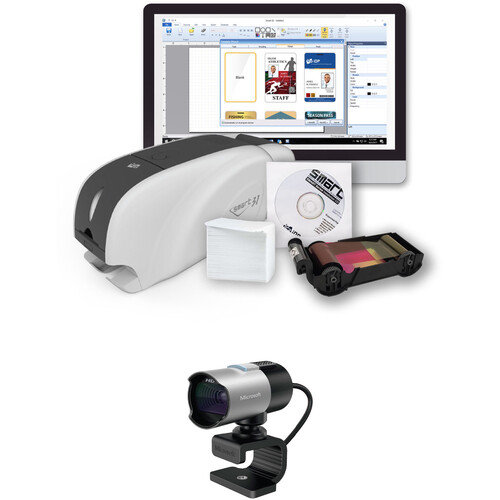 IDP SMART-31D Dual-Sided ID Card Printer with Ethernet Connectivity Bundle