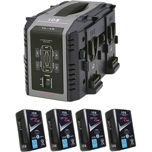 IDX System Technology Endura Cue-D150 V-Mount 4-Battery Kit with 4-Bay Charger