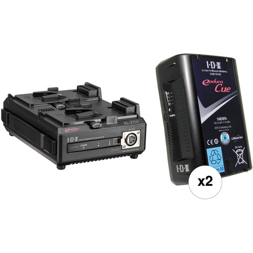 IDX System Technology Endura Cue-D150 V-Mount 2-Battery Kit with 2-Bay Charger
