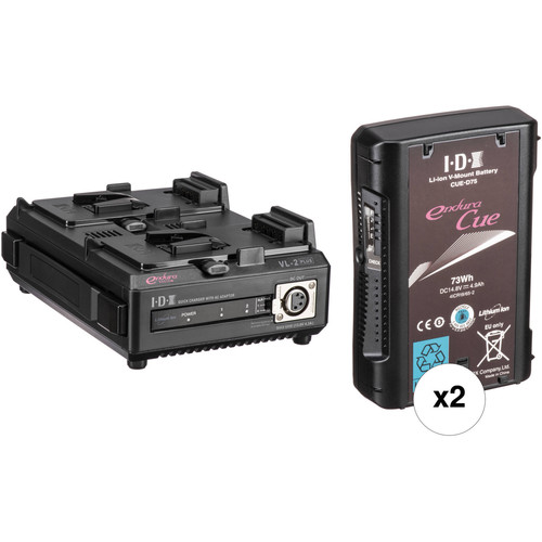 IDX System Technology Two 14.8V 73Wh Li-Ion V-Mount Batteries & Dual Charger/PSU Kit