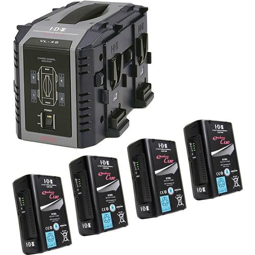 IDX System Technology Four 14.4V 91Wh Li-Ion V-Mount Batteries & Quad Charger Kit