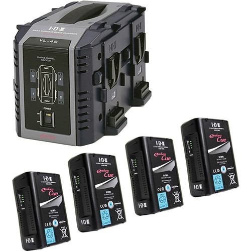 IDX System Technology Four 14.4V 91Wh Li-Ion V-Mount Batteries & Quad Charger Kit