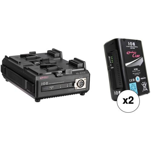 IDX System Technology Two 14.4V 91Wh Li-Ion V-Mount Batteries & Dual Charger/PSU Kit