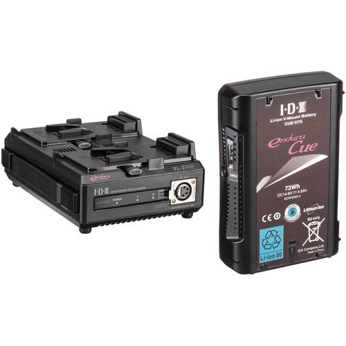 IDX System Technology CUE D-75 Li-Ion V-Mount Battery with VL-2 Dual Sequential Charger Kit
