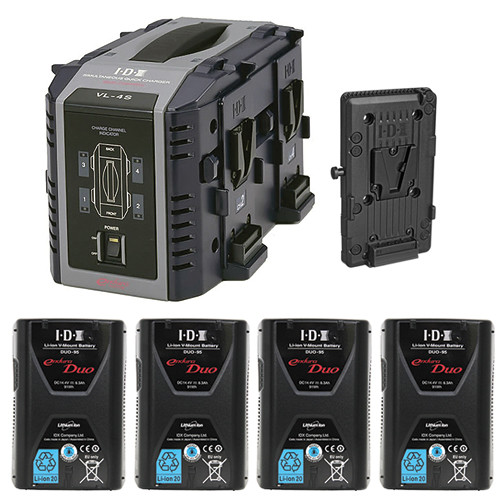 IDX System Technology Endura Duo-95 V-Mount 4-Battery Kit for AJA CION