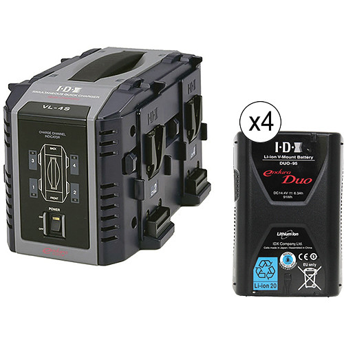 IDX System Technology Quad Charger with Four V-Mount Batteries