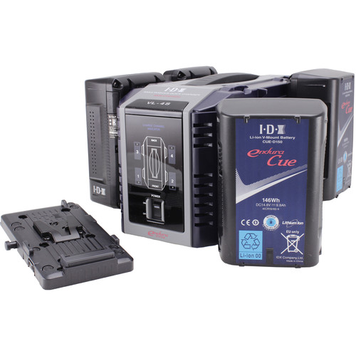 IDX System Technology Endura CUE-D150 Power Kit with 4-Channel Charger and Battery Plate