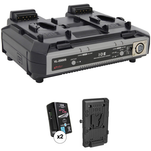 IDX System Technology Endura CUE-95 Power Kit with 2-Channel Charger and Battery Plate