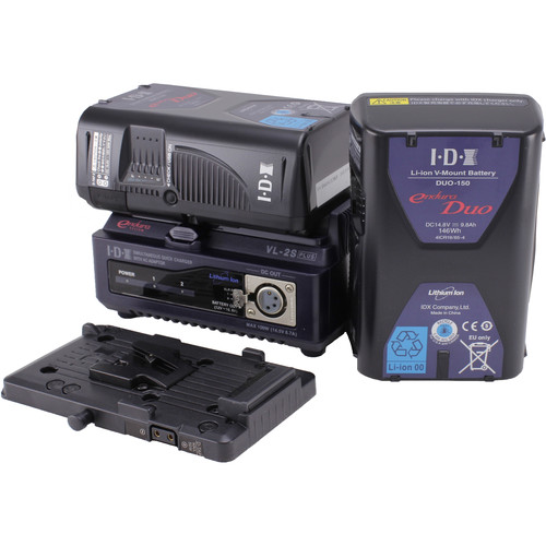 IDX System Technology Endura DUO-150 Power Kit with 2-Channel Charger and Battery Plate