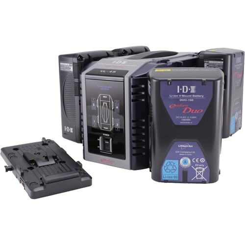 IDX System Technology Endura DUO-150 Power Kit with 4-Channel Charger and Battery Plate
