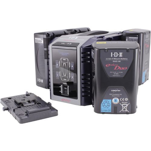 IDX System Technology Endura DUO-95 Power Kit with 4-Channel Charger and Battery Plate
