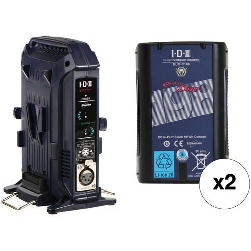 IDX System Technology Dual DUO-C198 14.4V 191Wh V-Mount High-Load Battery Kit with 2-Channel Charger