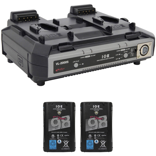 IDX System Technology Dual DUO-C98 96Wh Battery Kit with VL-2000S Simultaneous Quick Charger