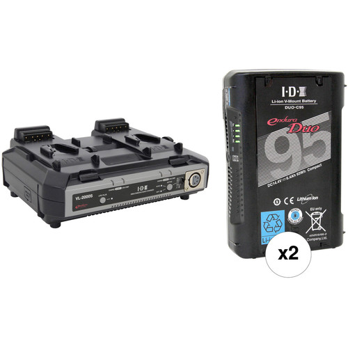 IDX System Technology Dual DUO-C95 Endura Duo 93Wh Batteries & Simultaneous Charger with XLR Output V-Mount Kit