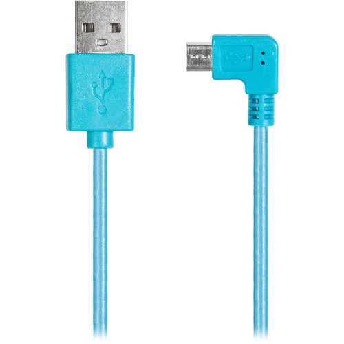 iEssentials USB Type-A Male to Right-Angle Micro-USB Male Cable (3.5', Blue)