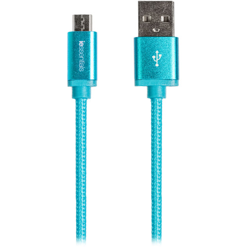iEssentials Tangle-Free Charge & Sync Micro USB Cable (10', Blue)
