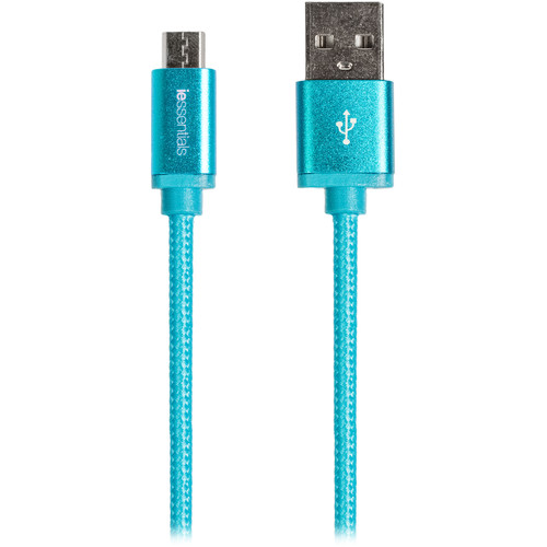 iEssentials Tangle-Free Charge & Sync Micro-USB Cable (6', Blue)