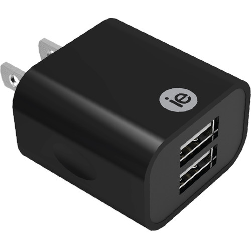 iEssentials 2.4A Dual Port USB Type-A Wall Charger (Black)
