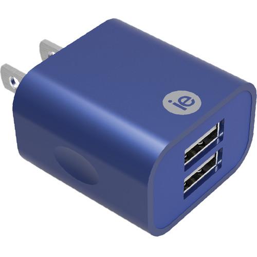 iEssentials 2.4A Dual Port USB Type-A Wall Charger (Metallic Blue)