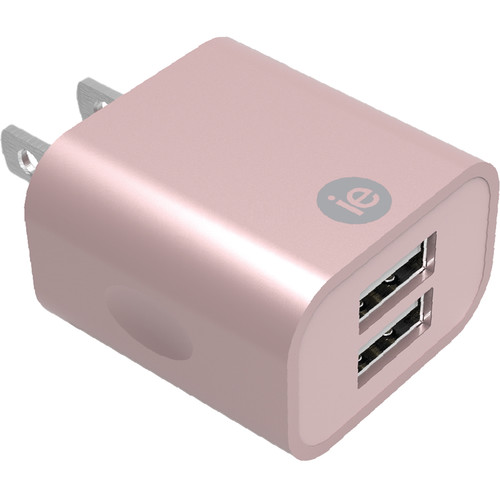 iEssentials 2.4A Dual Port USB Type-A Wall Charger (Rose Gold)