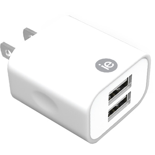iEssentials 2.4A Dual Port USB Type-A Wall Charger (White)