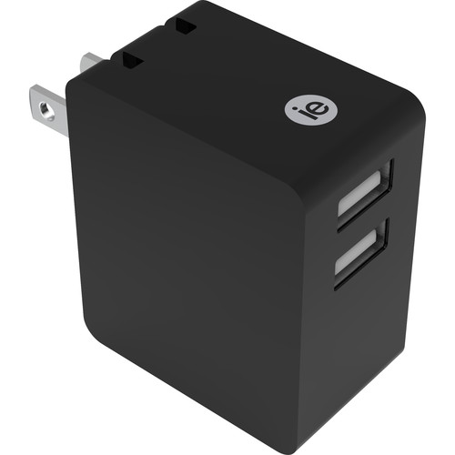 iEssentials 3.4A Dual Port USB Type-A Wall Charger (Black)