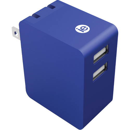 iEssentials 3.4A Dual Port USB Type-A Wall Charger (Metallic Blue)