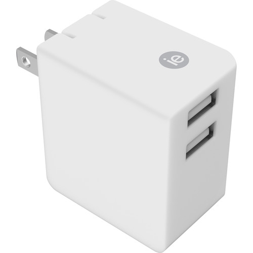 iEssentials 3.4A Dual Port USB Type-A Wall Charger (White)