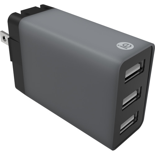 iEssentials 4.1A 3-Port USB Type-A Wall Charger (Gray)