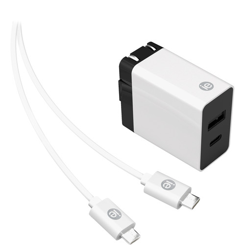 iEssentials 3.4A USB Type-A & USB Type-C Wall Charger with USB Type-C Cable