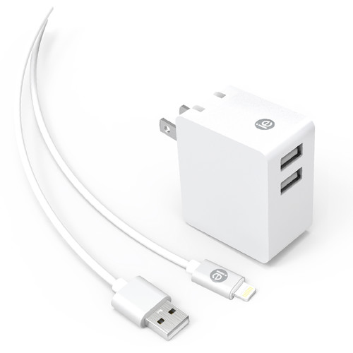 iEssentials 3.4A Dual USB Wall Charger with 4' Lightning Cable