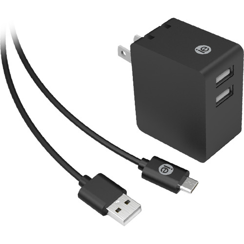 iEssentials 3.4A Dual USB Type-A Port Wall Charger with Micro-USB Cable (Black)