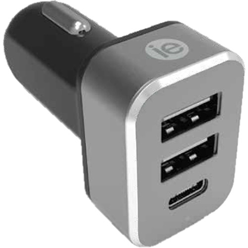 iEssentials 4.1A Dual USB Type-A and USB Type-C Car Charger (Black)