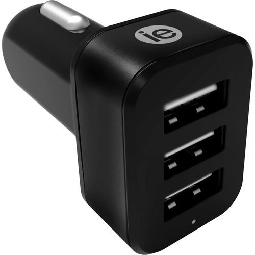iEssentials 4.1A 3-Port USB Type-A Car Charger (Black)