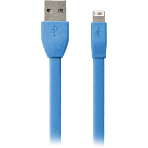 iEssentials Flat Apple Lightning Data Charge & Sync Cable (3.3', Blue)