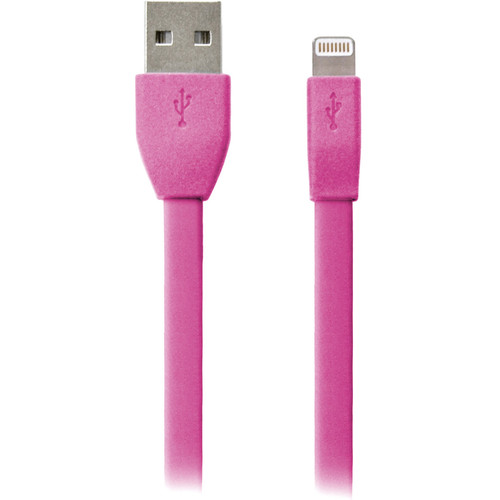 iEssentials 8-Pin Flat Apple Lightning Data Charge & Sync Cable (3.3', Pink)