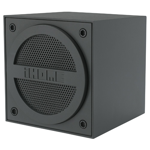 iHome Bluetooth Rechargeable Mini Speaker Cube in Rubberized Finish (Gray)