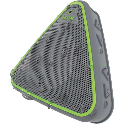 iHome iBT3 Splashproof Wireless Bluetooth Speaker with Speakerphone (Gray/Green)