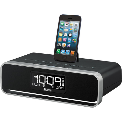 iHome IDL91B Dual Charging Stereo FM Clock Radio with Lightning Dock and USB Charge/Play for iPad/iPhone/iPod