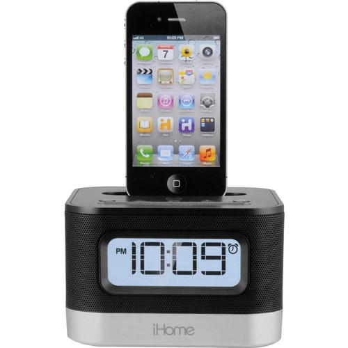 iHome IP10B Stereo Alarm Clock Speaker and Charging Dock for iPhone or iPod